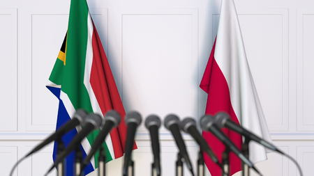 Flags of South Africa and Poland at international meeting or conference. 3D rendering