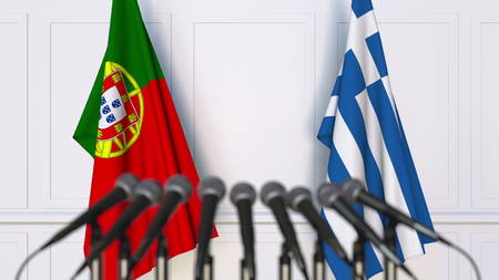Flags of Portugal and Greece at international meeting or conference. 3D rendering