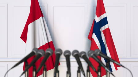 Flags of Peru and Norway at international meeting or conference. 3D rendering