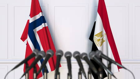 Flags of Norway and Egypt at international meeting or conference. 3D rendering