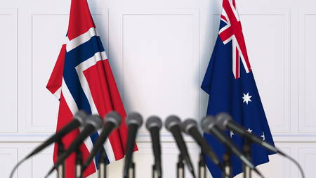 Flags of Norway and Australia at international meeting or conference. 3D rendering Stock Photo