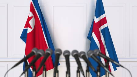 Flags of North Korea and Iceland at international meeting or conference. 3D rendering