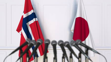 Flags of Norway and Japan at international meeting or conference. 3D rendering
