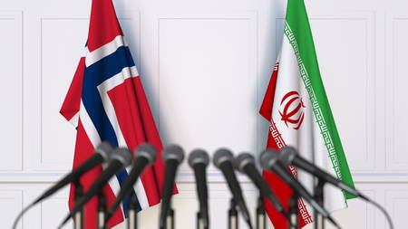 Flags of Norway and Iran at international meeting or conference. 3D rendering