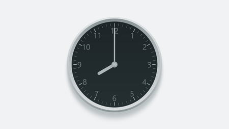 Office wall clock displays 8 oclock. 3D rendering
