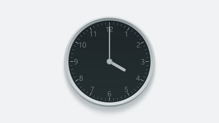 Office wall clock displays 4 oclock. 3D rendering