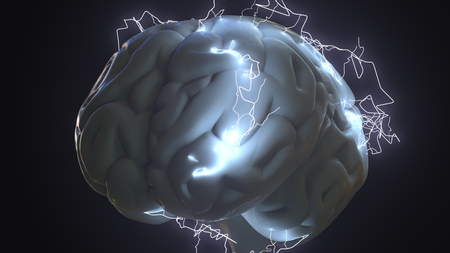 Lightning bolts over human brain. Idea generation, trouble or brainstorm related conceptual 3D rendering Stock Photo