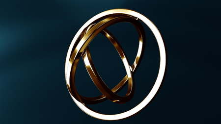 Gimbal made of gold. Balance or movement concepts. 3D rendering