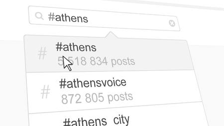 Athens hashtag search through social media posts. 3D rendering Stock Photo