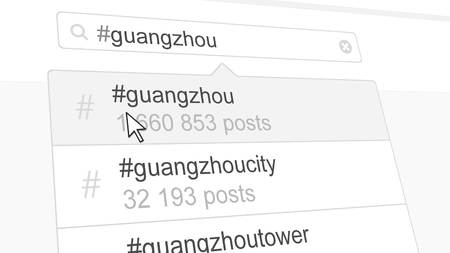 Guangzhou hashtag search through social media posts. 3D rendering Stock Photo