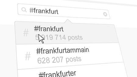 Frankfurt hashtag search through social media posts. 3D rendering Stock Photo