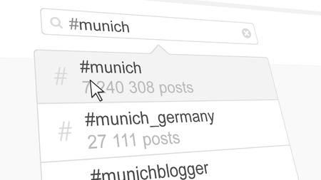 Munich hashtag search through social media posts. 3D rendering