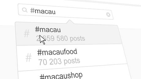 Macau hashtag search through social media posts. 3D rendering