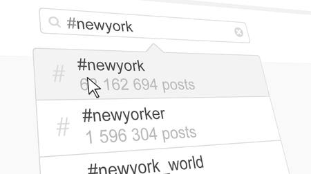 New York hashtag search through social media posts. 3D rendering