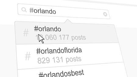 Orlando hashtag search through social media posts. 3D rendering Stock Photo