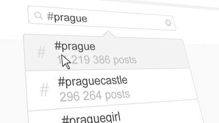 Prague hashtag search through social media posts. 3D rendering