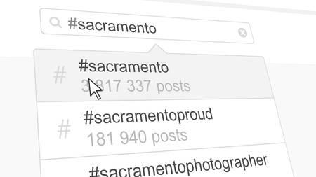 Sacramento hashtag search through social media posts. 3D rendering Stock Photo