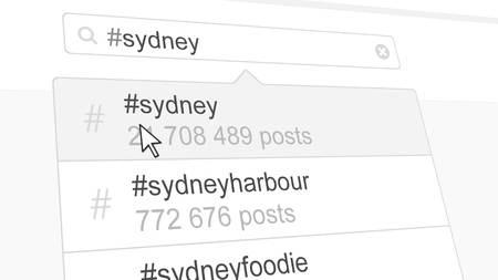 Sydney hashtag search through social media posts. 3D rendering