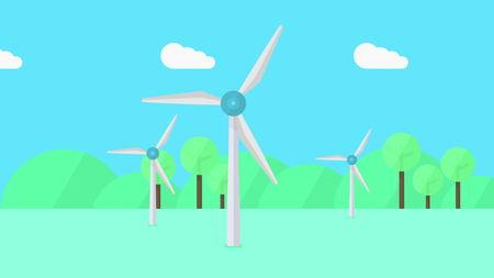 Wind generators, minimalistic cartoon illustration Stock Photo