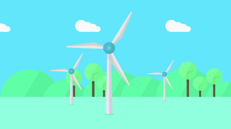Wind generators, minimalistic cartoon illustration Imagens