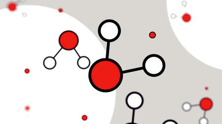 Minimalistic red and white cartoon molecule models