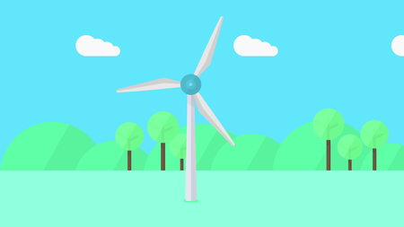 Wind turbine in action cartoon illustration Stock Photo