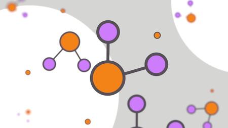Orange and magenta molecule models. Simple cartoon illustration