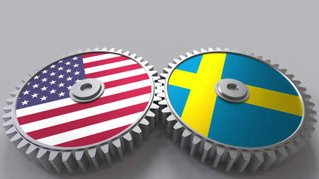 Flags of the USA and Sweden on meshing gears. International cooperation conceptual 3D rendering