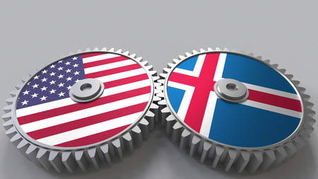Flags of the USA and Iceland on meshing gears. International cooperation conceptual 3D rendering