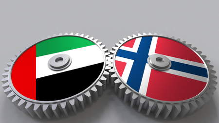 Flags of the UAE and Norway on meshing gears. International cooperation conceptual 3D rendering