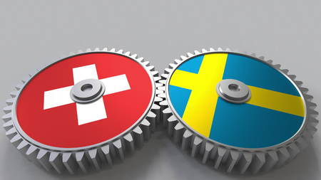 Flags of Switzerland and Sweden on meshing gears. International cooperation conceptual 3D rendering Stock Photo