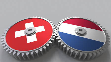 Flags of Switzerland and Netherlands on meshing gears. International cooperation conceptual 3D rendering
