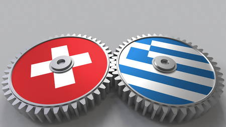 Flags of Switzerland and Greece on meshing gears. International cooperation conceptual 3D rendering