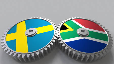 Flags of Sweden and South Africa on meshing gears. International cooperation conceptual 3D rendering Stock Photo