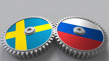 Flags of Sweden and Russia on meshing gears. International cooperation conceptual 3D rendering