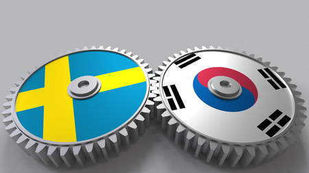 Flags of Sweden and Korea on meshing gears. International cooperation conceptual 3D rendering Stock Photo