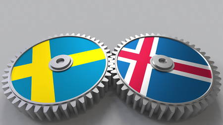 Flags of Sweden and Iceland on meshing gears. International cooperation conceptual 3D rendering Stock Photo