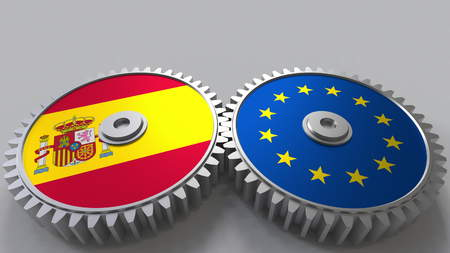 Flags of Spain and the European Union on meshing gears. International cooperation conceptual 3D rendering