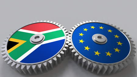 Flags of South Africa and the European Union on meshing gears. International cooperation conceptual 3D rendering Stock Photo