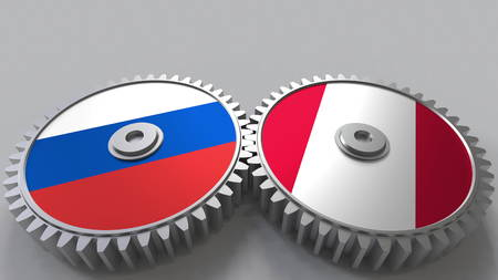 Flags of Russia and Peru on meshing gears. International cooperation conceptual 3D rendering