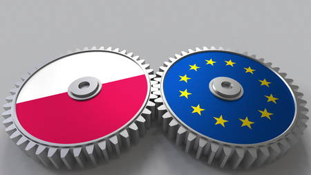 Flags of Poland and the European Union on meshing gears. International cooperation conceptual 3D rendering