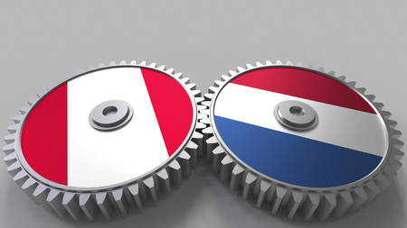 Flags of Peru and Netherlands on meshing gears. International cooperation conceptual 3D rendering