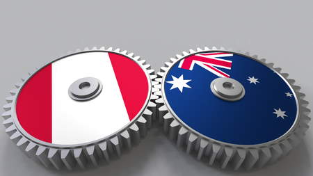 Flags of Peru and Australia on meshing gears. International cooperation conceptual 3D rendering