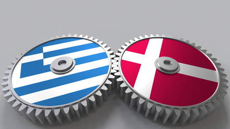 Flags of Greece and Denmark on meshing gears. International cooperation conceptual 3D rendering