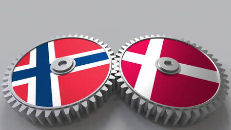 Flags of Norway and Denmark on meshing gears. International cooperation conceptual 3D rendering