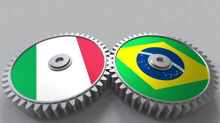 Flags of Italy and Brazil on meshing gears. International cooperation conceptual 3D rendering