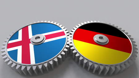 Flags of Iceland and Germany on meshing gears. International cooperation conceptual 3D rendering