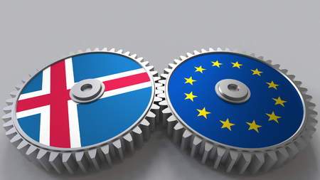 Flags of Iceland and the European Union on meshing gears. International cooperation conceptual 3D rendering