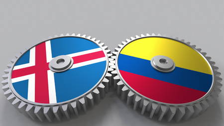 Flags of Iceland and Colombia on meshing gears. International cooperation conceptual 3D rendering