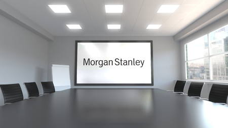 Morgan Stanley Inc. logo on the screen in a meeting room. Editorial 3D rendering 에디토리얼